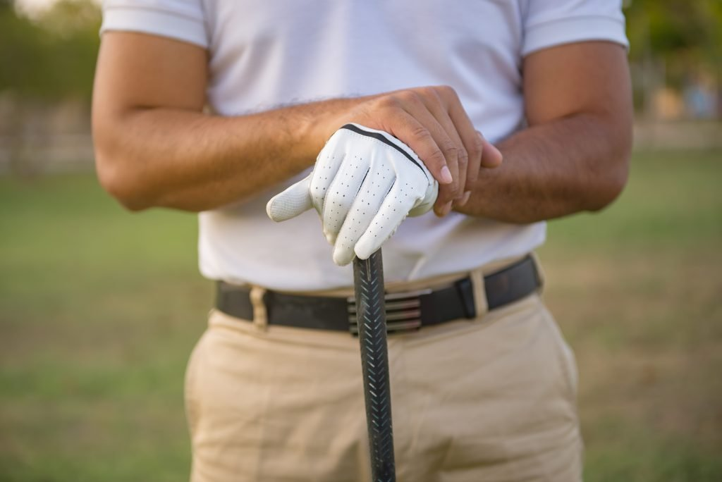 The golfer holding