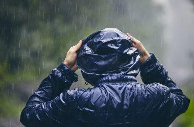 Golfer in heavy rain