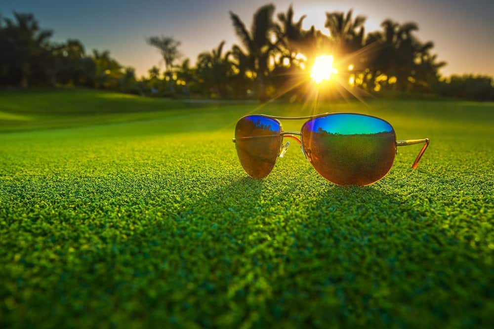Beautiful glasses on golf course